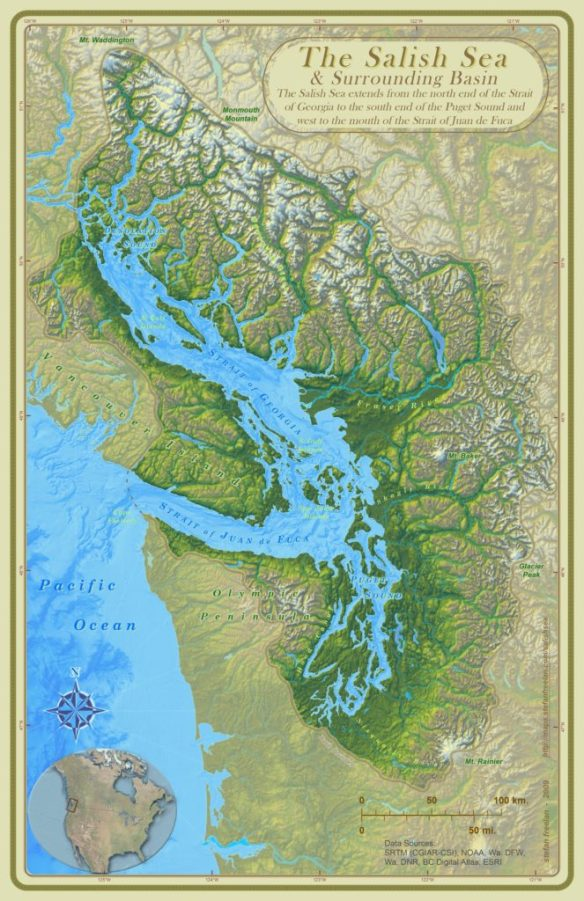 Map of the Salish Sea by Stefan Freelan, Salish Sea ecosystem